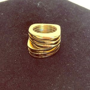 Gold toned hefty stacked ring
